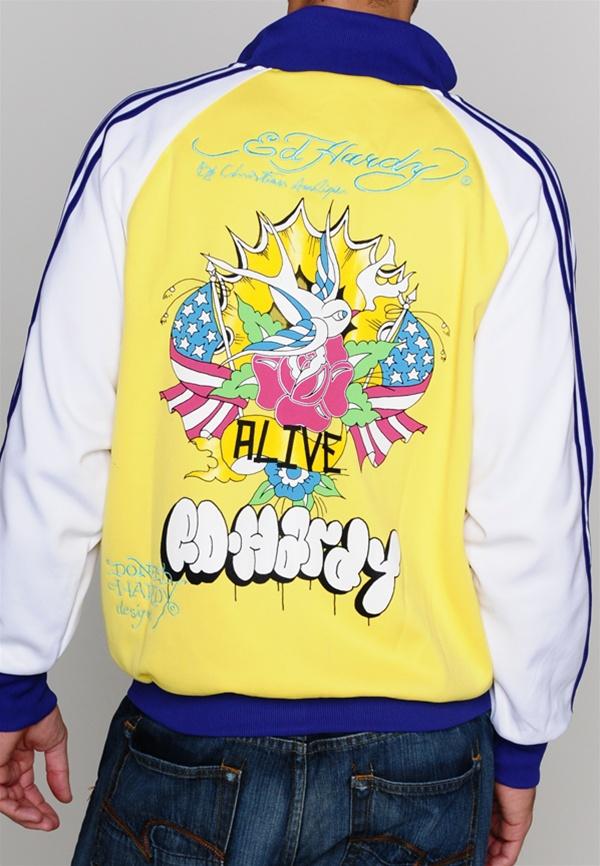 Ed Hardy Alive Pop Art Jacket - Blue - Back