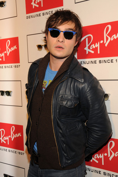 Ed Westwick - Blue Rayban Clubmasters