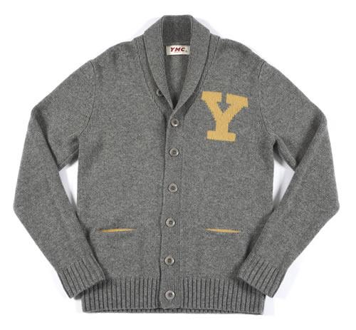 YMC shawl collared chunky knit marl grey cardigan
