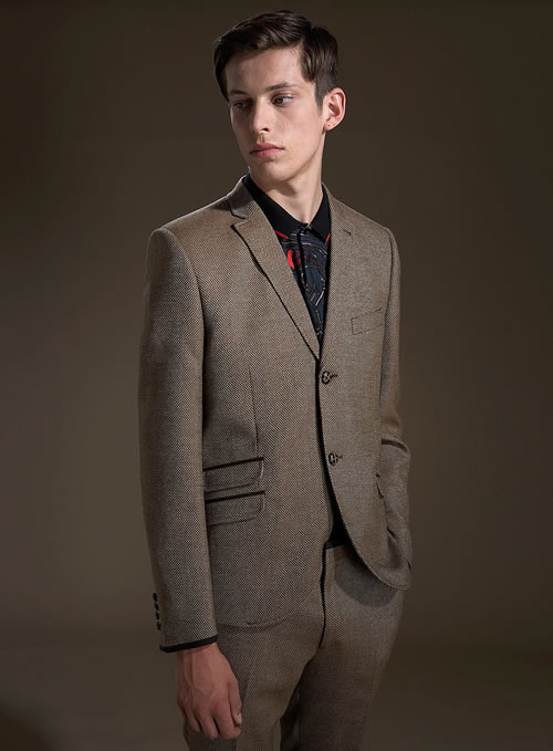 Topman khaki tweed skinny jacket