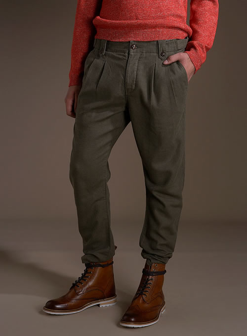 Topman khaki twin pleat chinos