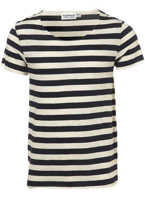 Topman navy raw scoop stripe t-shirt