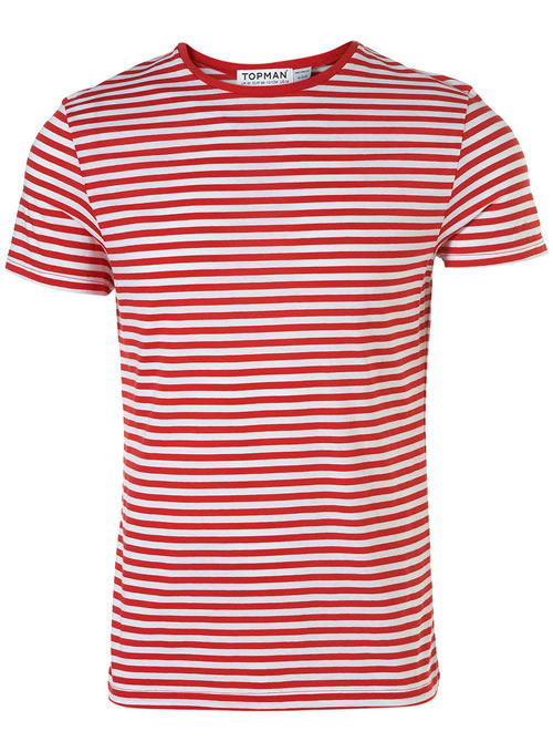 Topman red and white stripe t-shirt