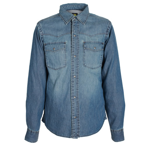 Pretty Green Green Collection Indigo Denim Western Shirt