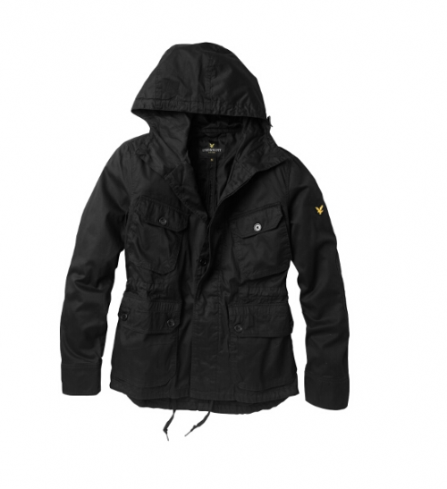 Lyle & Scott Christmas Collection - Cotton Twill Parka Jacket in Black